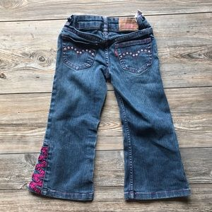Girls Levi Bootcut Flare Purple Detail Jeans